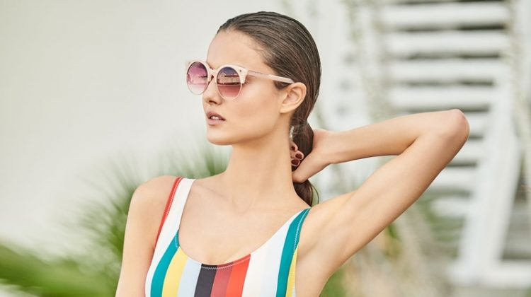 Solid & Striped The Anne-Marie Striped One-Piece Swimsuit and Pared Eyewear Up and At Em Semi-Rimless Round Sunglasses