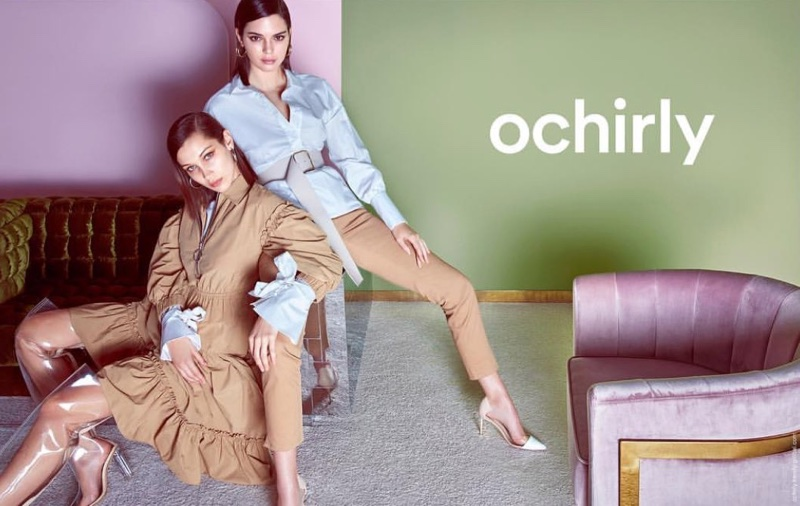 Models Bella Hadid and Kendall Jenner pose in Chinese brand Ochirly's spring-summer 2018 campaign
