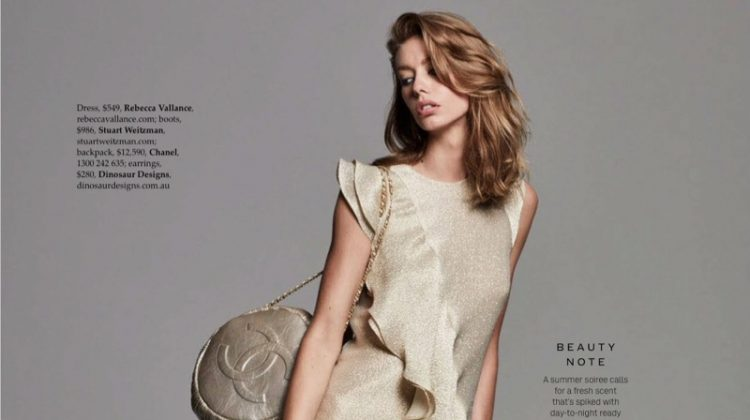 Ondria Hardin Wears Party-Ready Dresses for ELLE Australia
