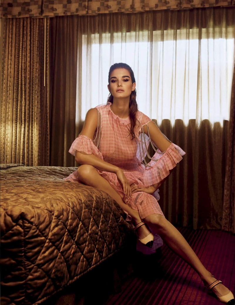 Ophelie Guillermand Poses in Pastel Fashions for Vogue Mexico