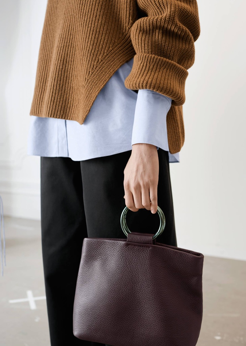 & Other Stories Oversized Side-Slit Turtleneck, Oversized Button Down Shirt and Ring Fold-Over Clutch