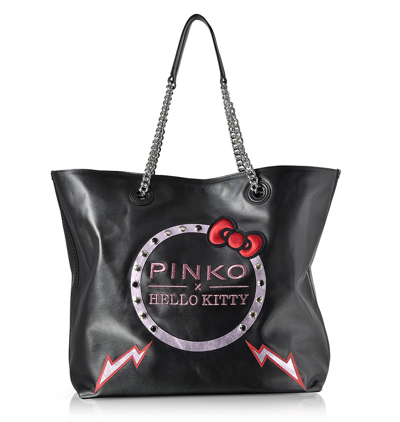 PINKO x Hello Kitty Ribbon Maxi Black Eco Leather Tote Bag $670