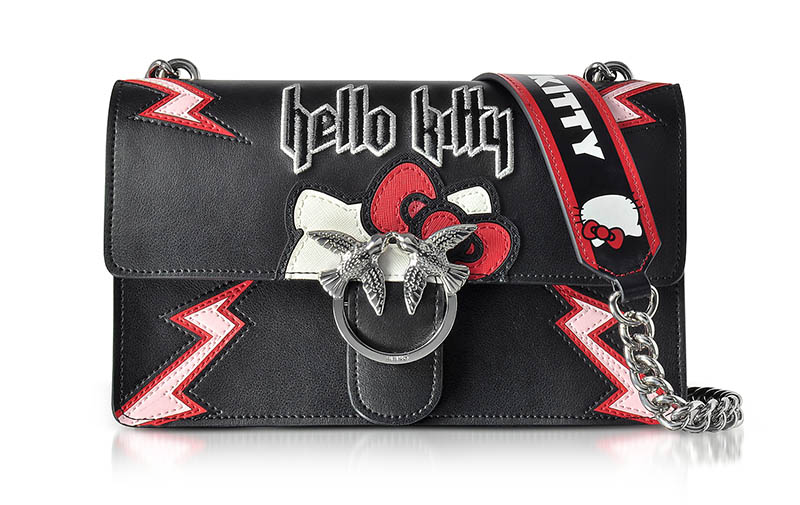 PINKO x Hello Kitty Rock Black Eco Leather Shoulder Bag $505