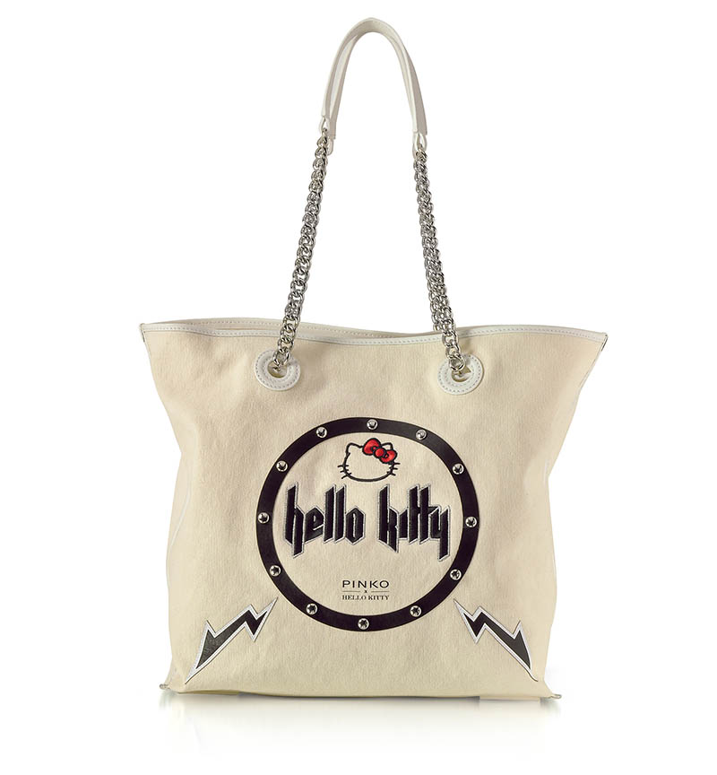 PINKO x Hello Kitty Rock White Canvas Shopping Bag $315