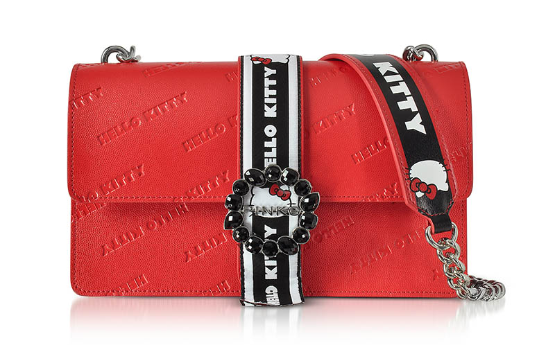 PINKO x Hello Kitty Red Printed Eco Leather Shoulder Bag $448