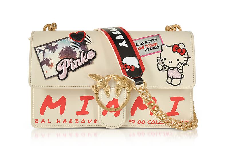PINKO x Hello Kitty Souvenir White Eco Leather Shoulder Bag $398