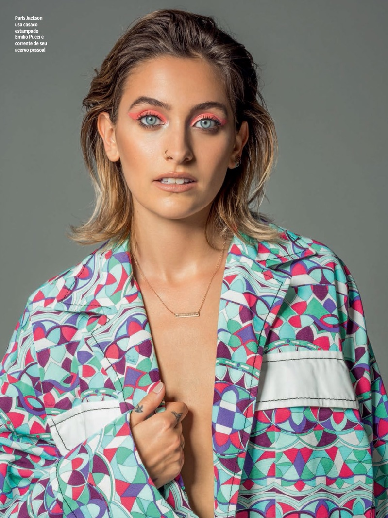 Actress Paris Jackson wears printed jacket from Emilio Pucci