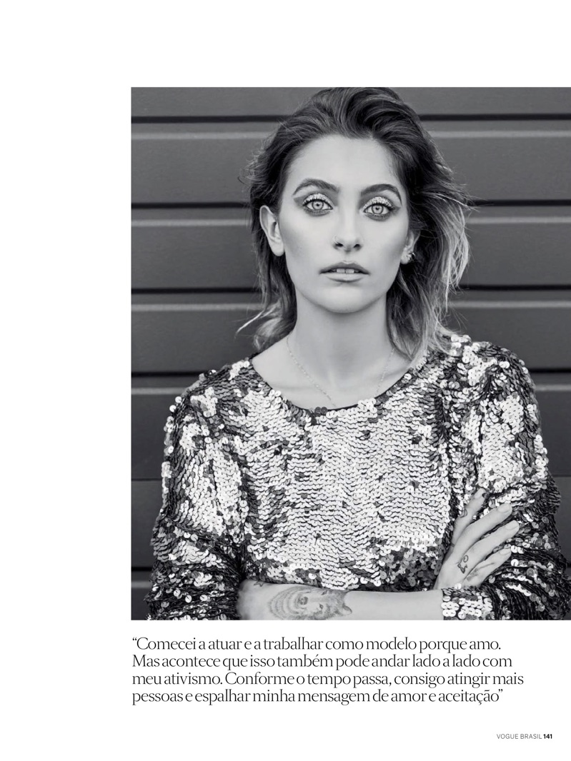 Paris Jackson poses in Joulik sequined top