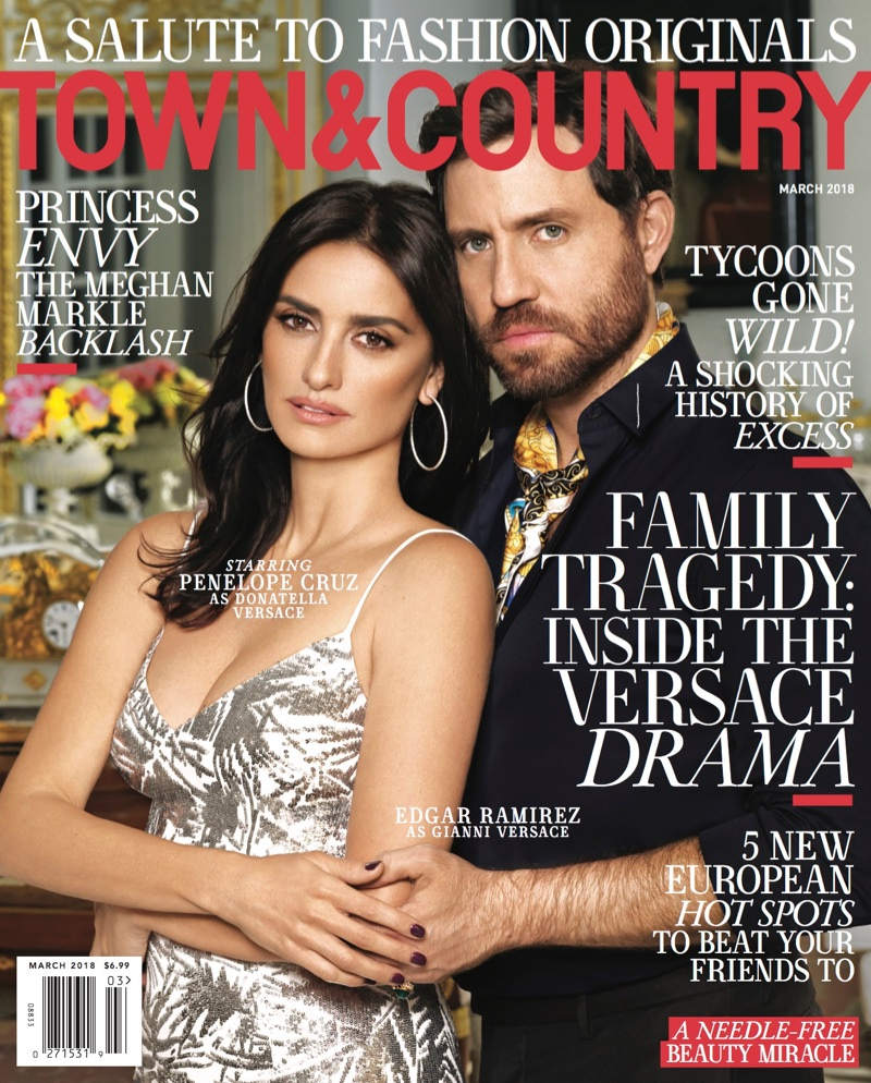 Penelope Cruz & Edgar Ramirez on Town & Country March 2018 Cover