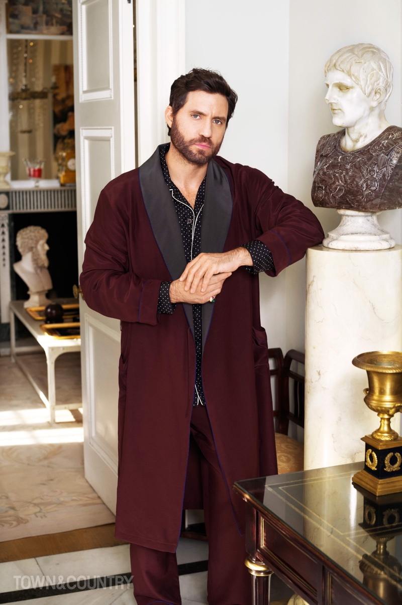 Edgar Ramirez wears Prada robe and pants with Dolce & Gabbana shirt