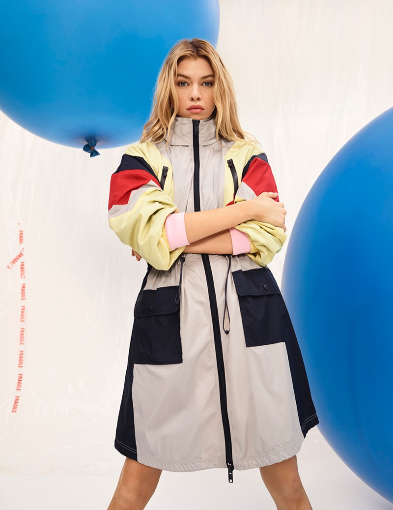 Model Stella Maxwell poses in parka jacket for Pepe Jeans' spring-summer 2018 campaign