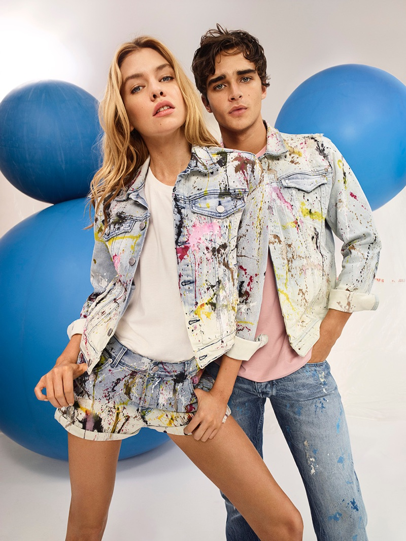 Models Stella Maxwell and Pepe Barroso wear painted denim in Pepe Jeans' spring-summer 2018 campaign