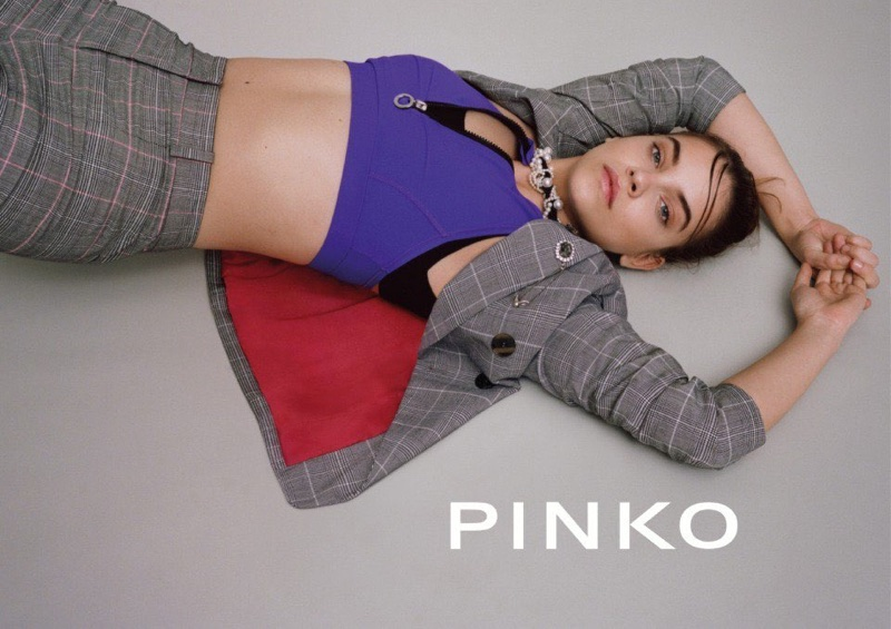 An image from Pinko's spring 2018 advertising campaign starring Barbara Palvin