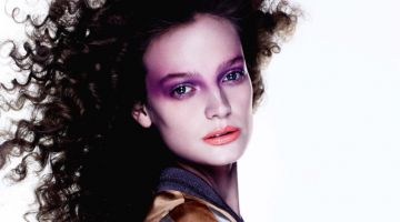 Ine Neefs Models Purple Beauty Looks in Vogue Japan