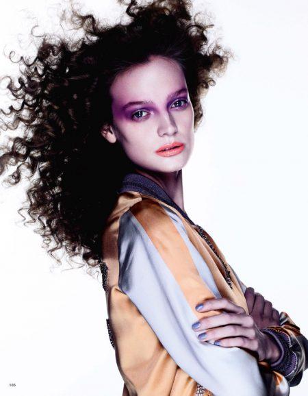 Ine Neefs Models Purple Beauty Looks in Vogue Japan