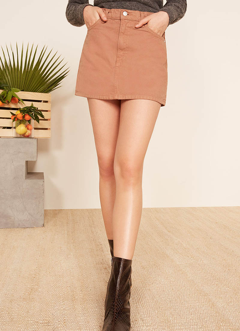 Reformation Becca Skirt in Nutmeg $98