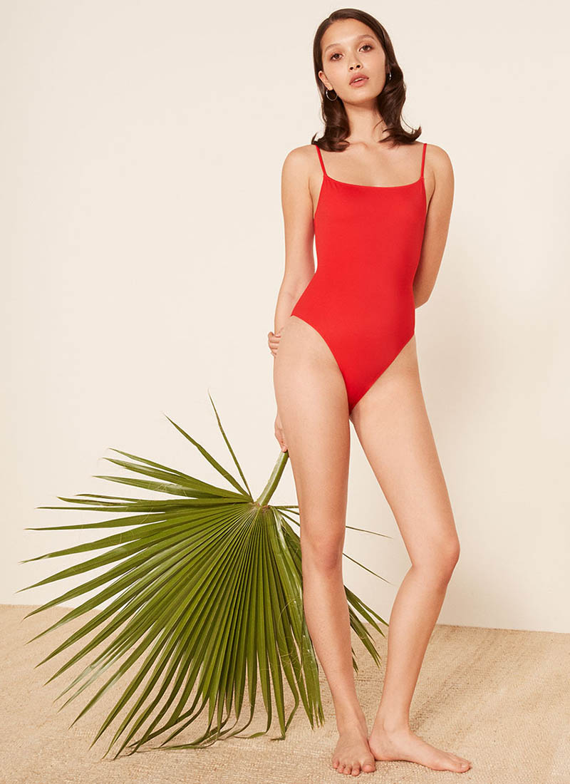 Reformation Bora One Piece Swimsuit in Cherry $98