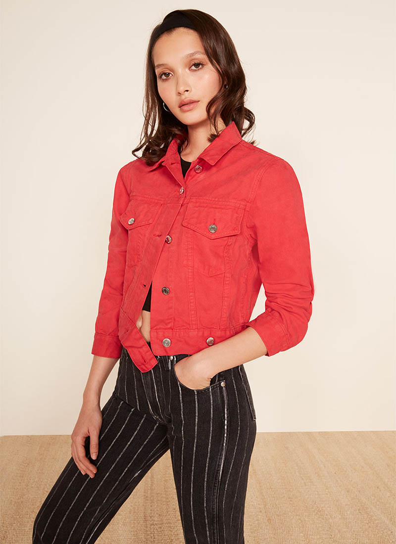 Reformation Ford Jacket in Cherry $118