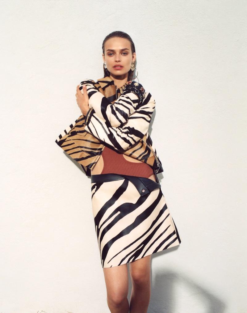 Birgit Kos poses in zebra print for Roberto Cavalli's spring-summer 2018 campaign