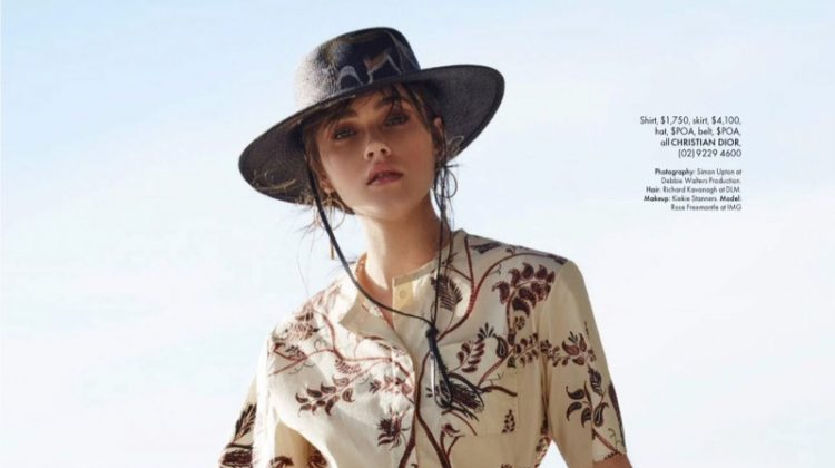 Rose Freemantle Poses in Dreamy Beach Fashions for ELLE Australia