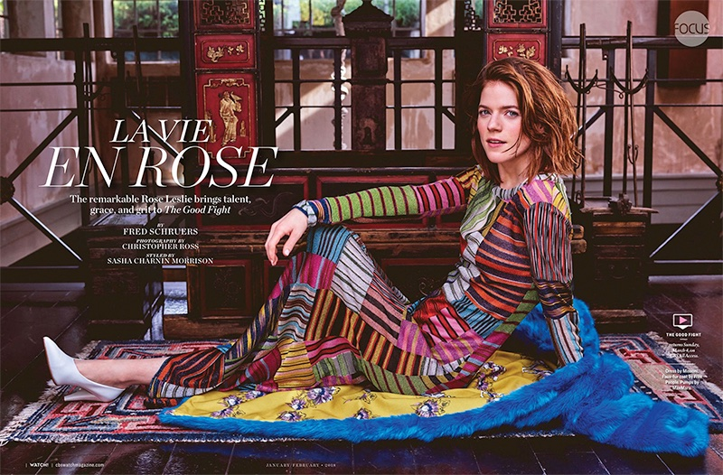 Rose Leslie poses in printed Missoni dress with Free People faux fur coat