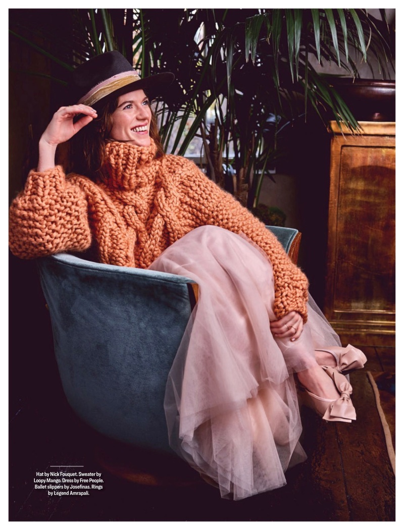 Flashing a smile, Rose Leslie wears Nick Fouquet hat, Loopy Mango sweater, Free People dress and Josefinas ballet slippers
