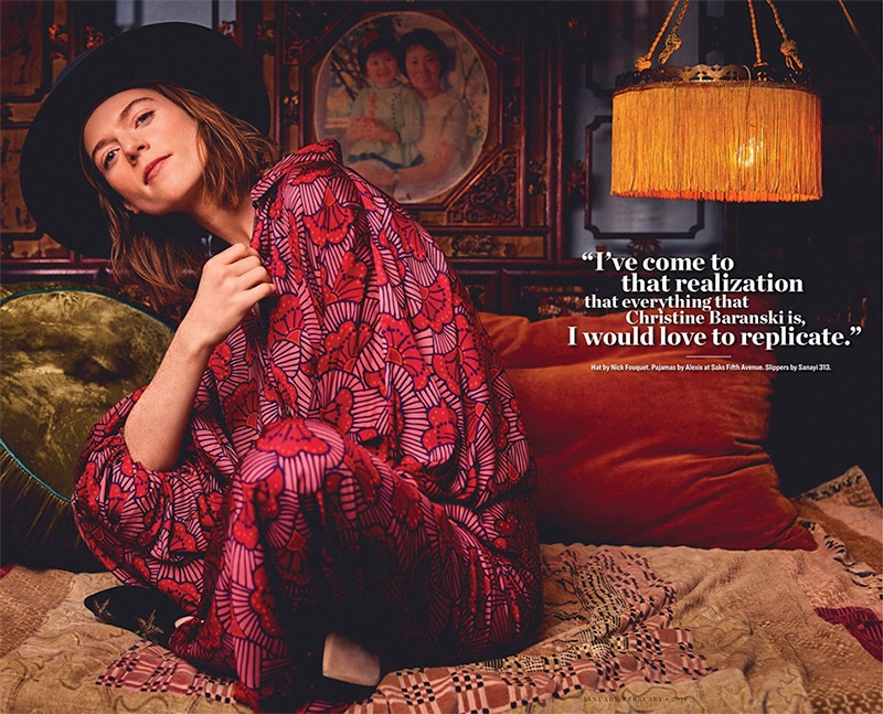 Posing in bed, Rose Leslie wears Nick Fouquet hat, Alexis pajamas and Sanayi 313 slippers