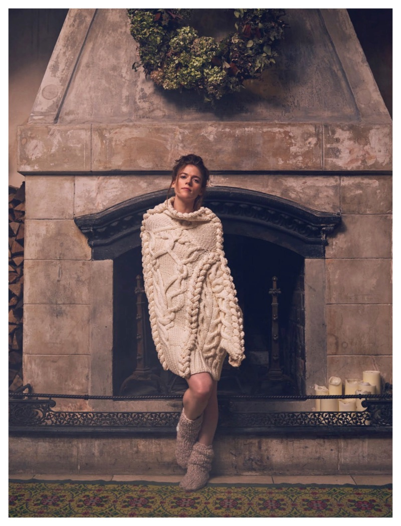 Looking cozy, Rose Leslie wears Spencer Vladimir cable knit sweater