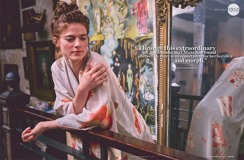 Actress Rose Leslie poses in Carmen Bury vintage kimono