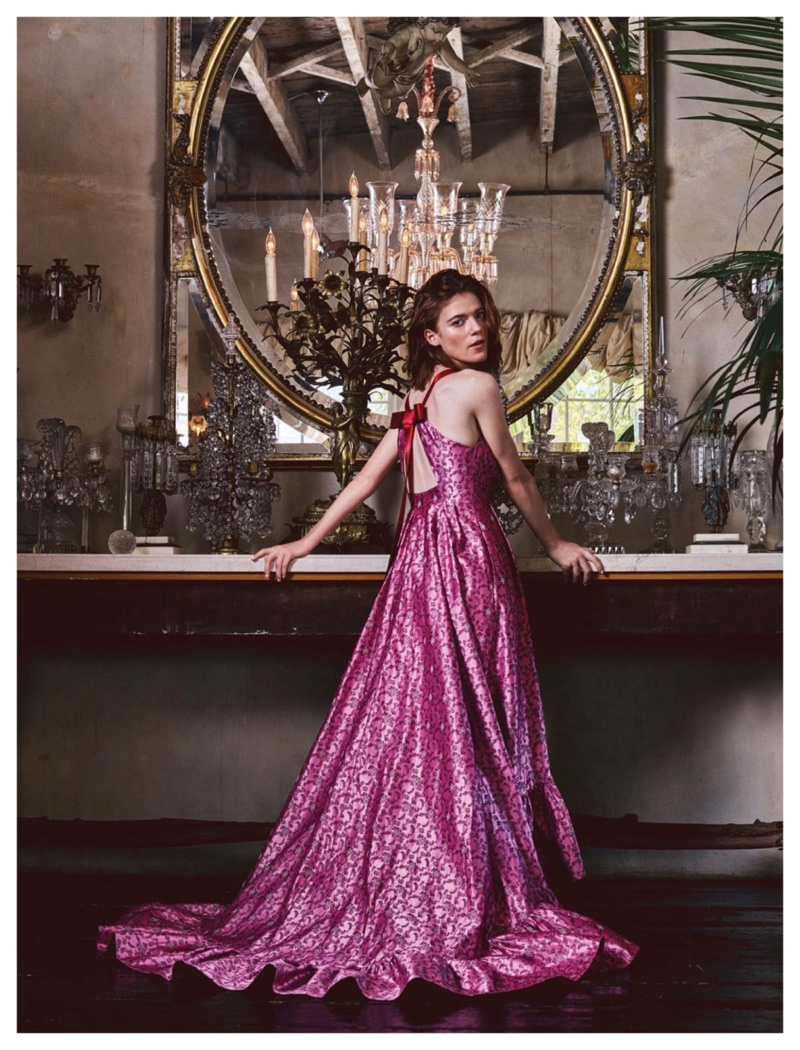 Actress Rose Leslie poses in pink Erdem gown
