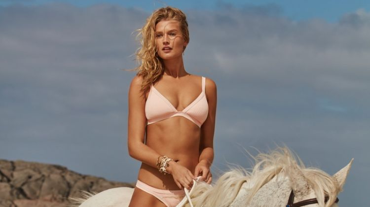 Posing on a horse, Toni Garrn fronts Seafolly summer 2018 swimwear campaign