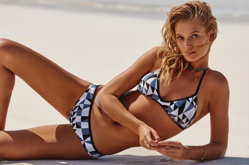 Toni Garrn rocks printed bikini for Seafolly's summer 2018 campaign
