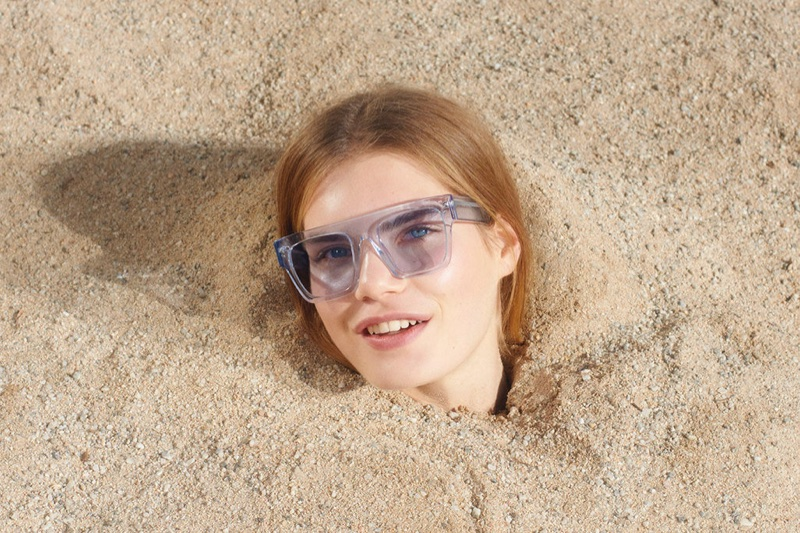 Sophie Rask wears Icy Ice sunglasses in Stella McCartney's spring-summer 2018 campaign