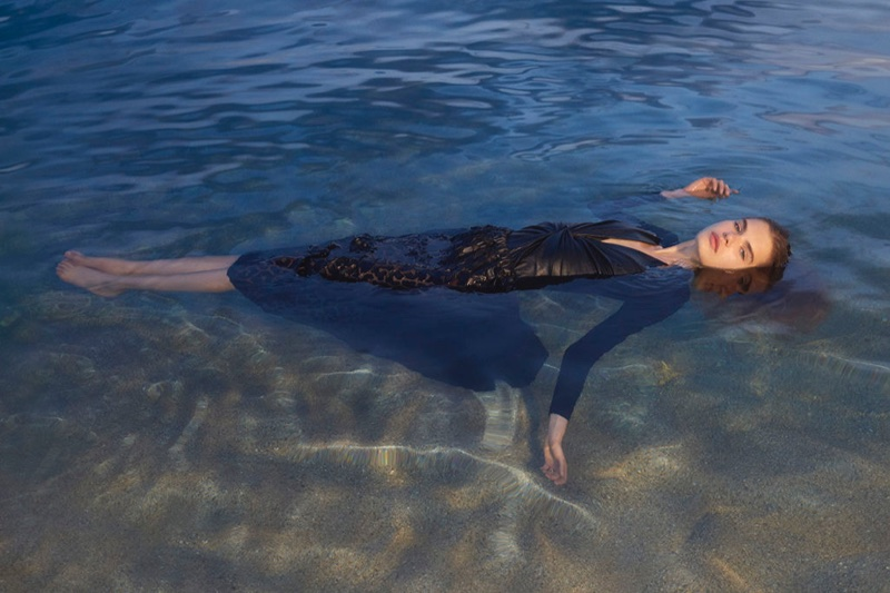 Model Sophie Rask takes a dip in Stella McCartney's spring-summer 2018 campaign