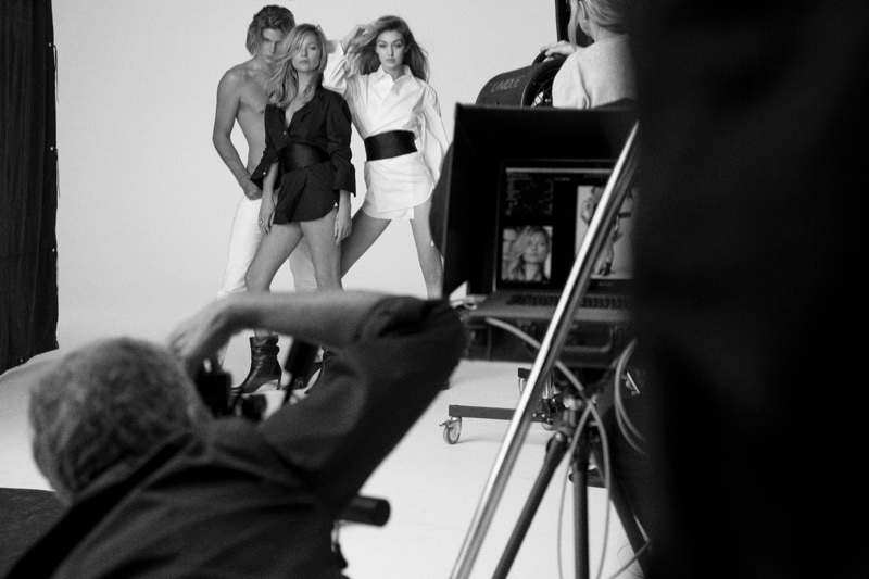BEHIND THE SCENES: Jordan Barrett, Kate Moss and Gigi Hadid for Stuart Weitzman spring-summer 2018