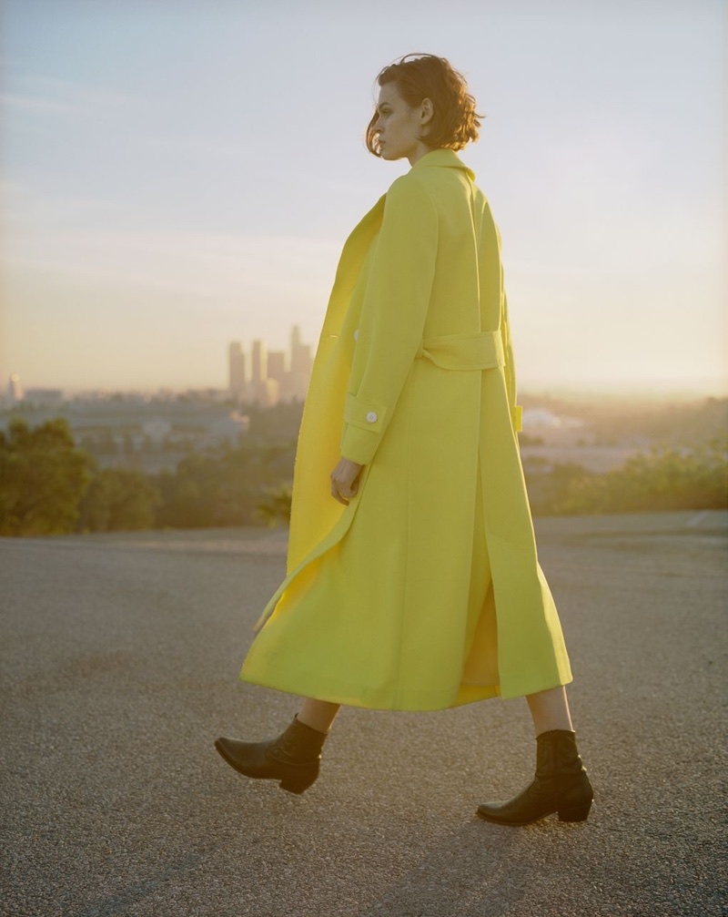 Cara Taylor poses in yellow coat for Topshop's spring-summer 2018 campaign