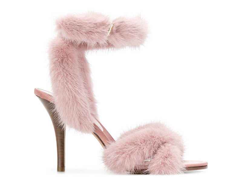 Valentino Pink Fur Ankle Strap Sandals $897 (previously $1,495)