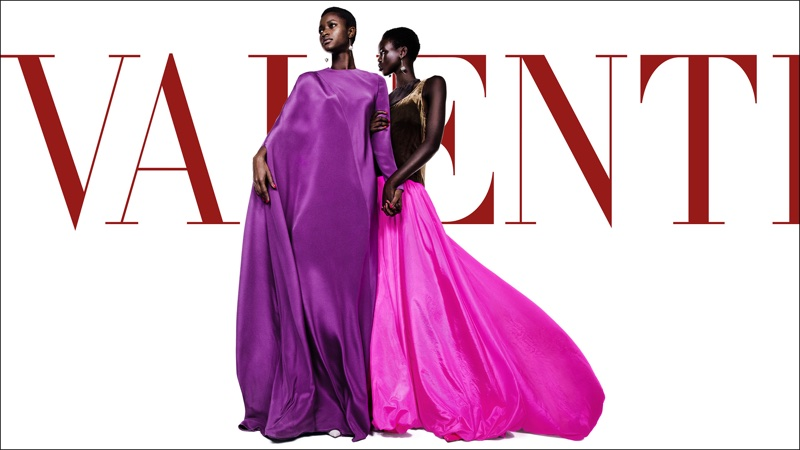 Adut Akech and Oumie Jameh wear bold gowns in Valentino's spring-summer 2018 campaign