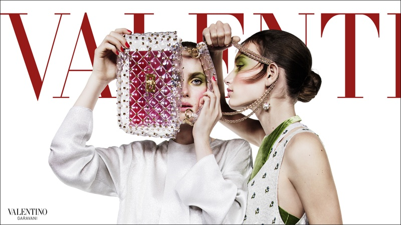 Rianne van Rompaey and Aurora Talarico star in Valentino's spring-summer 2018 campaign