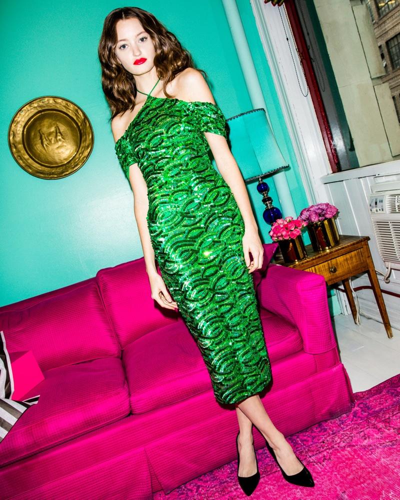 Alice + Olivia Audra Embellished Off-the-Shoulder Halter Dress $795