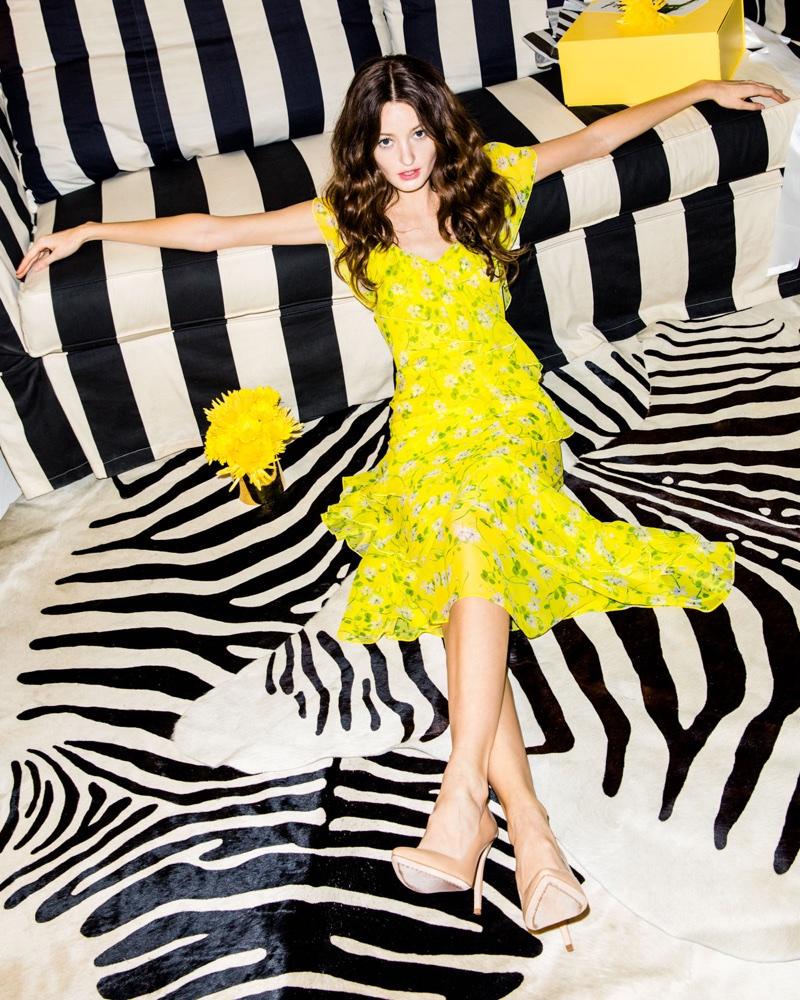 Alice + Olivia Olympia Asymmetric Ruffle Dress $550