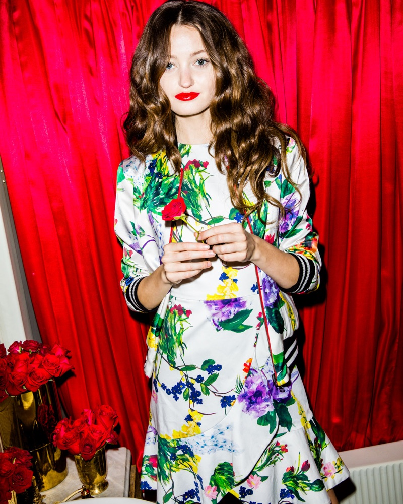 Alice + Olivia Lonnie Reversible Silk Bomber Jacket $550 and Kirby Jewel-Neck Cap-Sleeve Floral-Print Dress $375