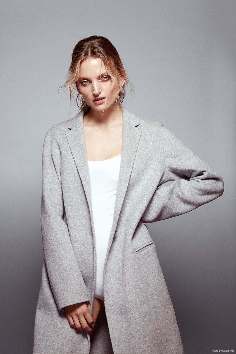 Theory Grey Coat, Baserange White Bodysuit and Cloverpost Silver Hoop Earrings