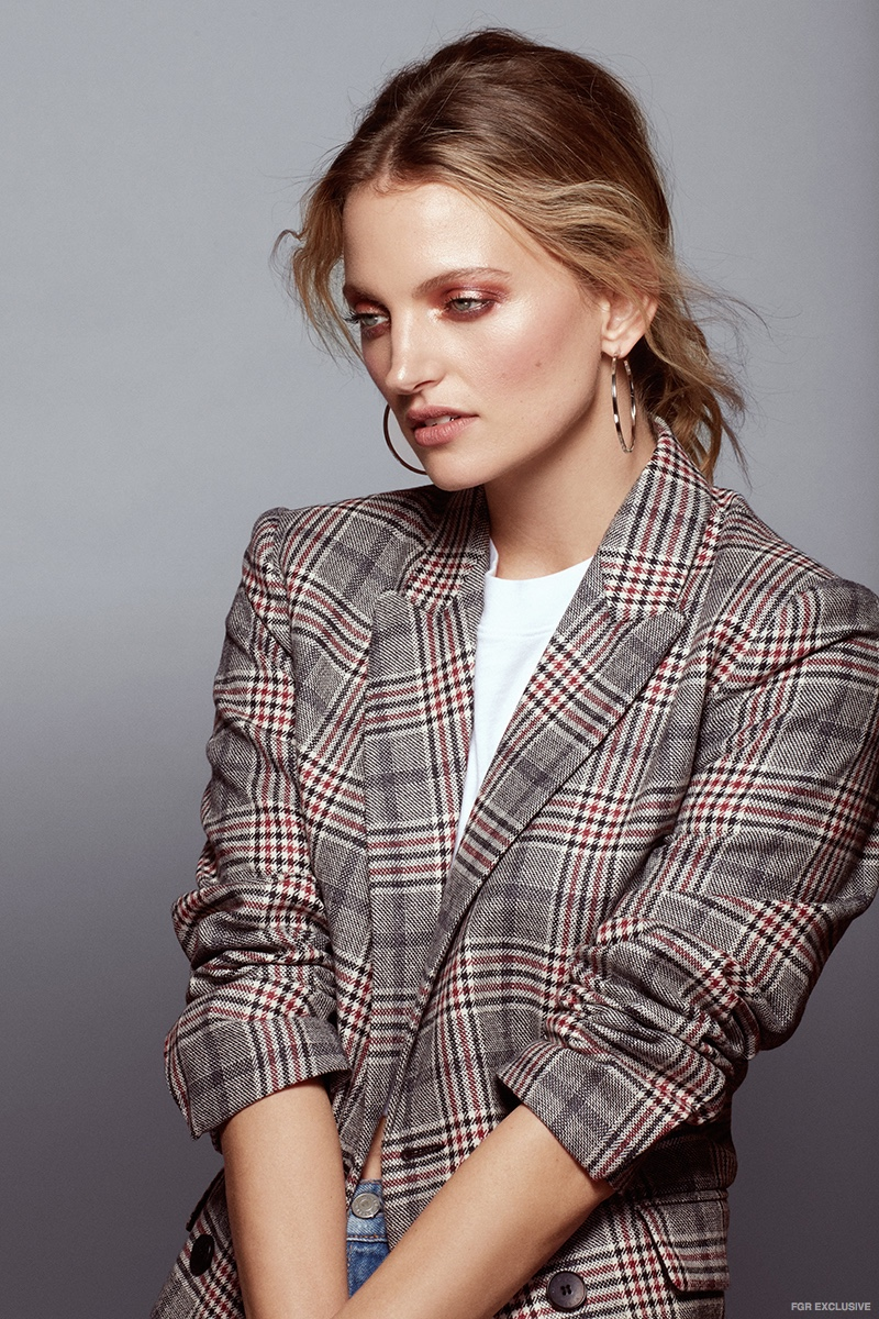 Sandro Plaid Blazer, Cotton Citizen Crop Tee and Cloverpost Silver Hoop Earrings