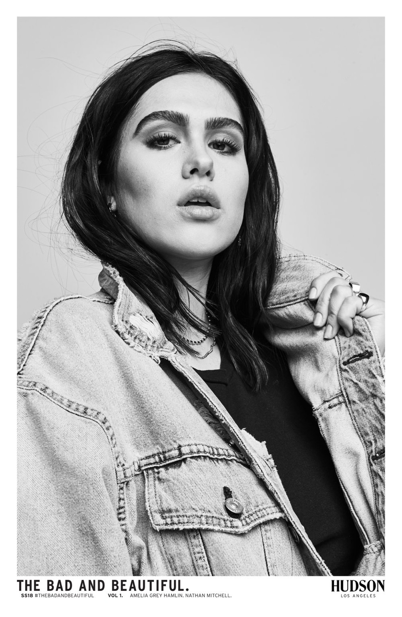 Photographed in black and white, Amelia Gray Hamlin appears in Hudson Jeans' spring-summer 2018 campaign