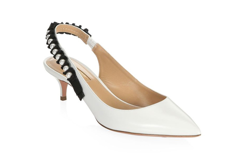 Aquazzura Love Story Leather Slingback Pumps in White $795