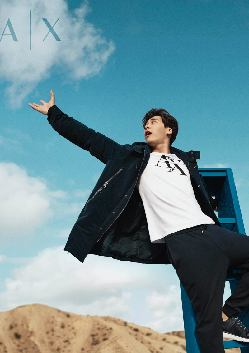 An image from Armani Exchange's spring 2018 campaign with Li Yifeng