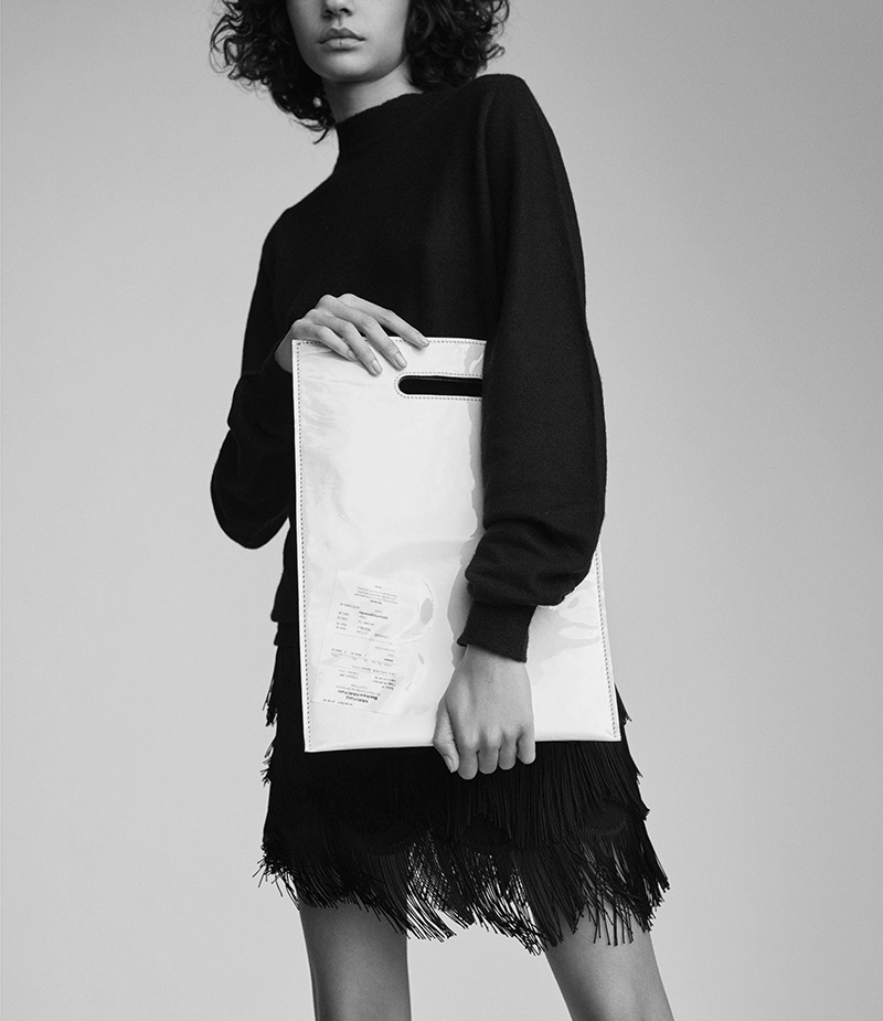 Rick Owens Cashmere Bouclé Sweater, Marc Jacobs Fringe Skirt and MM6 Maison Margiela Receipt Tote Bag