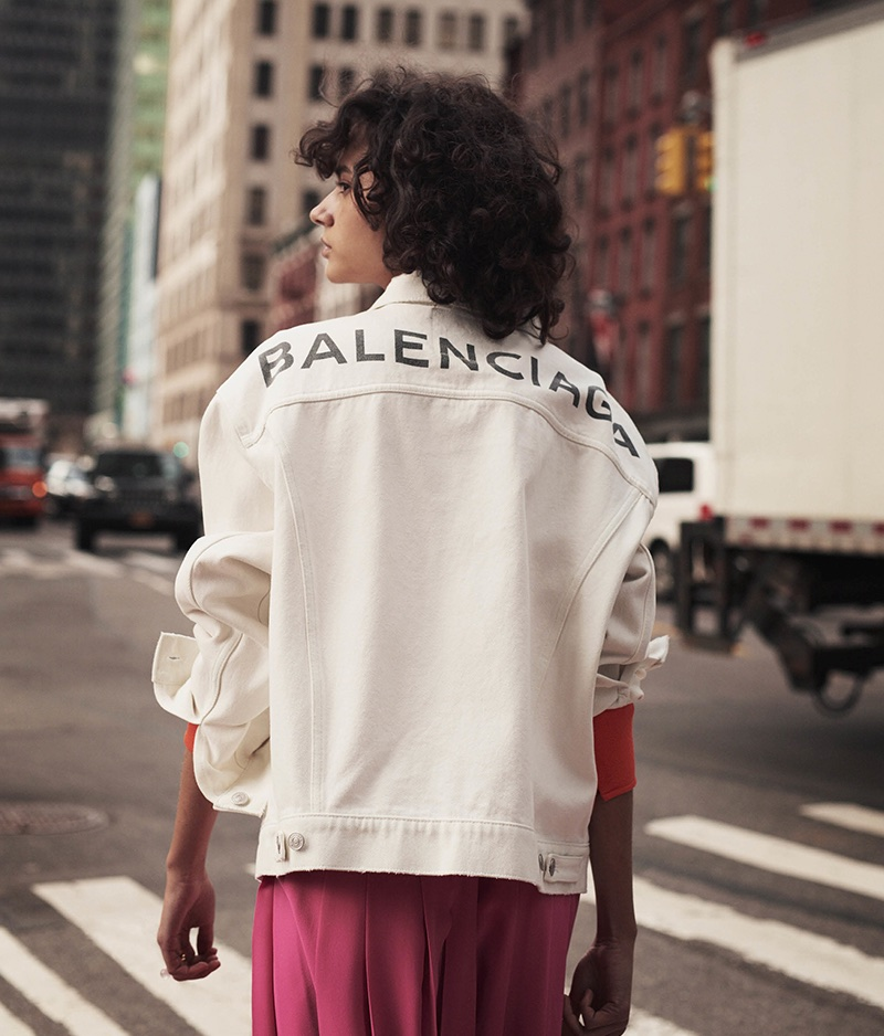 Balenciaga Logo Cotton Denim Jacket and Fendi Logo-Detail Pleated Silk Crepe de Chine Skirt