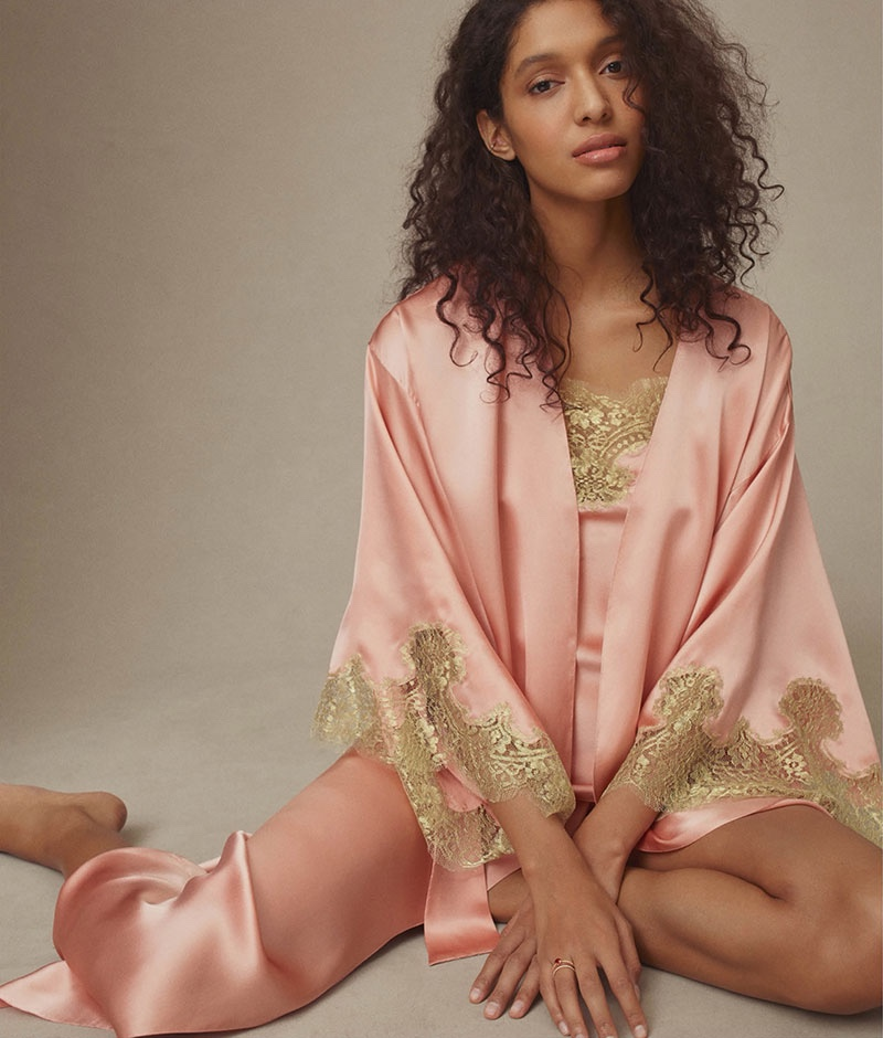 Gilda & Pearl Gina Silk Satin Long Robe, Gina Silk Satin Camisole and Gina Silk Satin Shorts